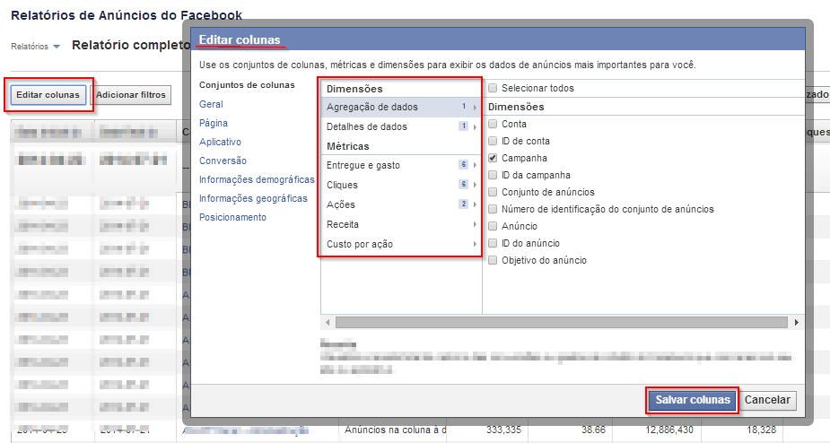 Editar Colunas - Facebook Reports